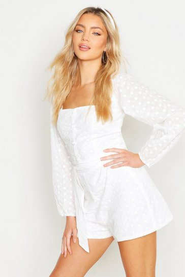 White Belted Broderie Tailored Short