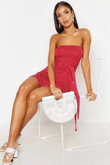 Red Spot Bandeau Frill Mini Dress