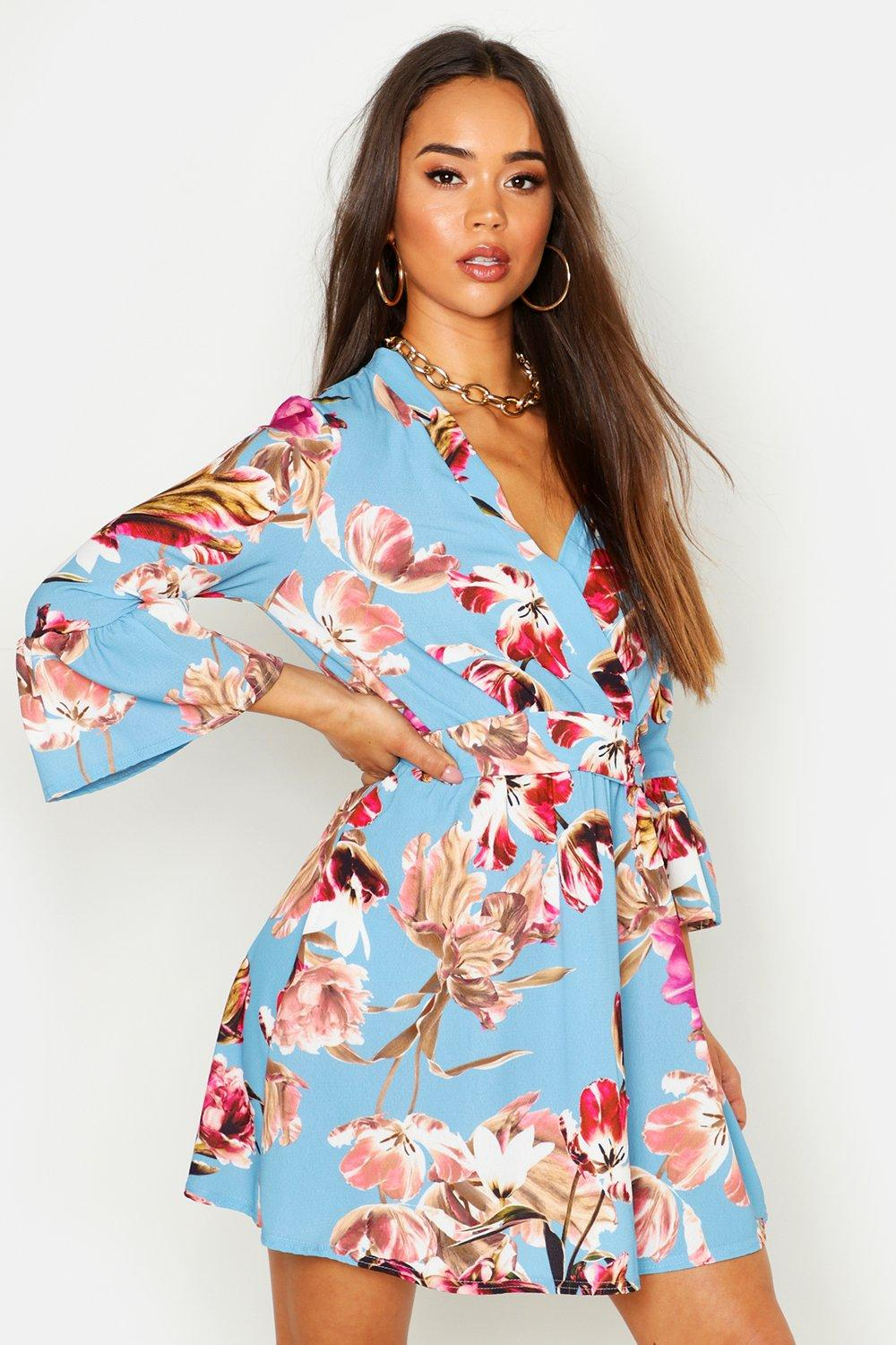 Don't Miss Out Floral Ruffle Sleeve Tie Waist Skater Dress