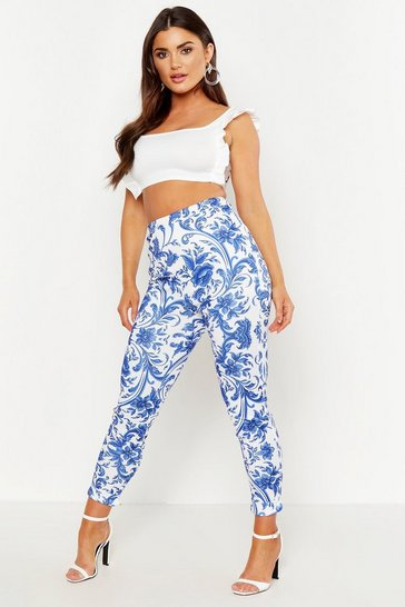 Blue Porcelain High Waist Skinny Trousers