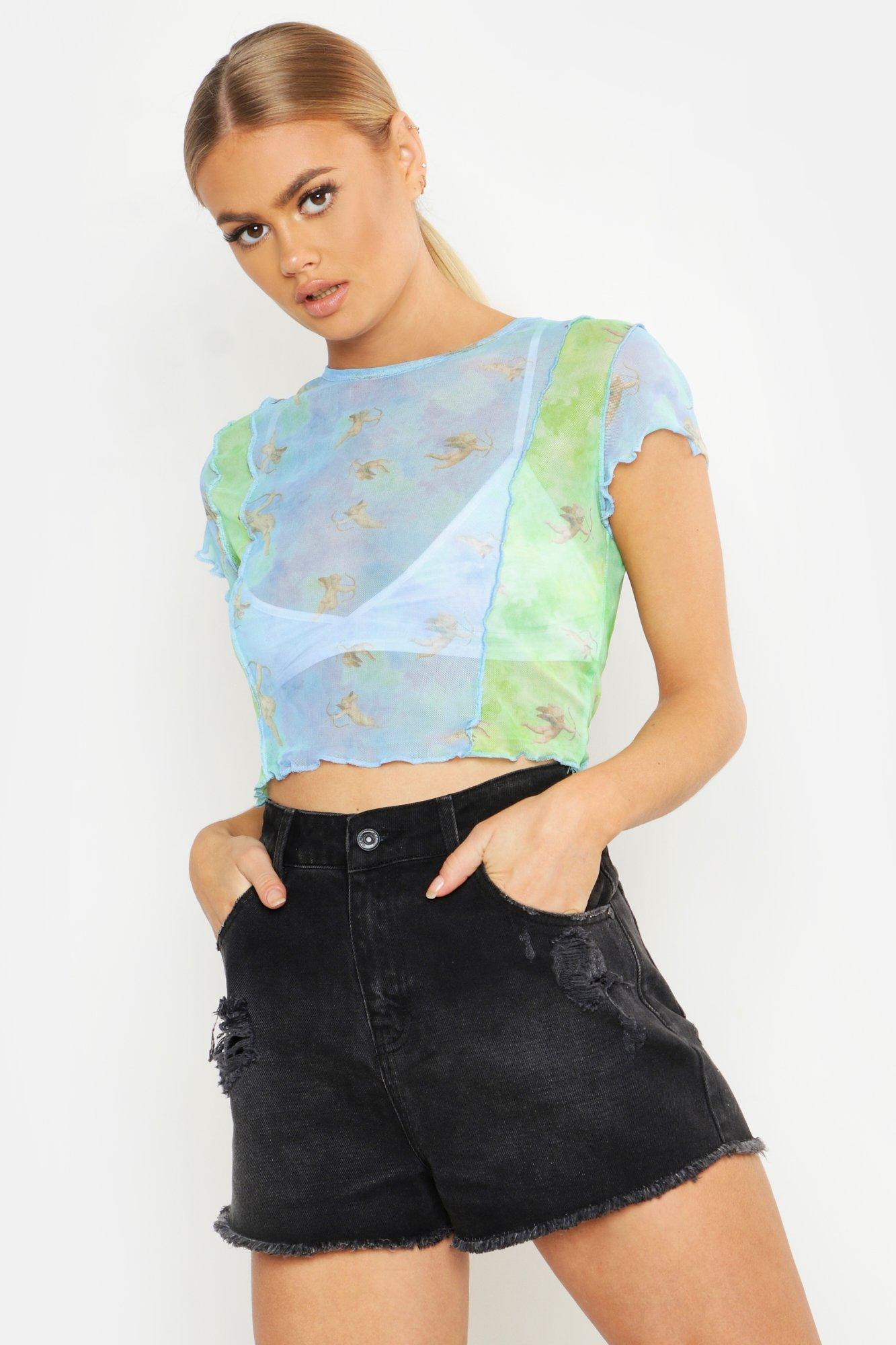 Womens Crop Top aus Netzstoff mit Engel-Motiv - Blau - 34, Blau - Boohoo.com