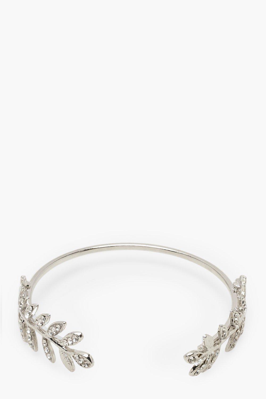 boohoo Womens Diamante Leaf Bangle - Grey - One Size, Grey