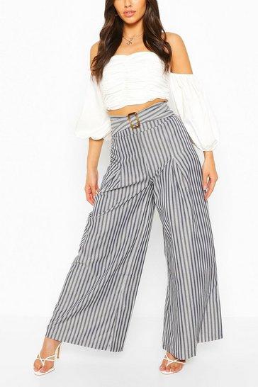 Belted Woven Stripe High Waist Trouser