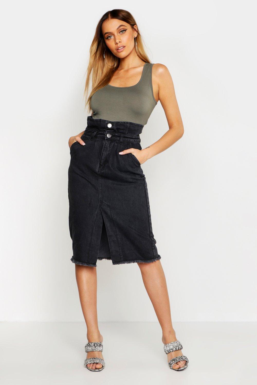 Don't Miss Out Paperbag Front Split Denim Midi Skirt