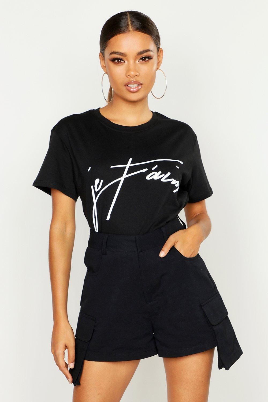 Womens Kurzes T-Shirt mit Je-Taime-Slogan - schwarz - L, Schwarz - Boohoo.com