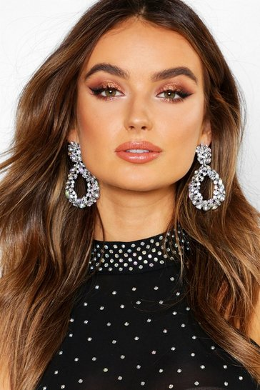 Silver Statement Diamante Teardrop Earrings