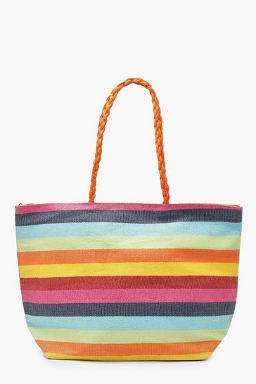 Multi Rainbow Stripe Beach Bag