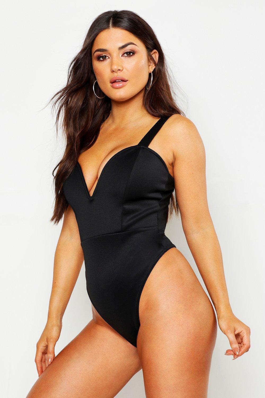 Womens Body aus Neoprenstoff mit tiefem Ausschnitt und breiten Trägern - schwarz - 32, Schwarz - Boohoo.com