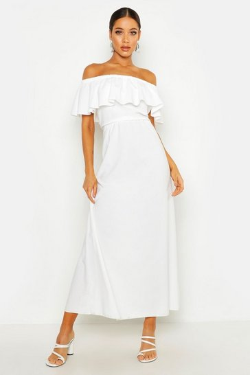 Ivory Woven Bardot Frill Maxi Dress