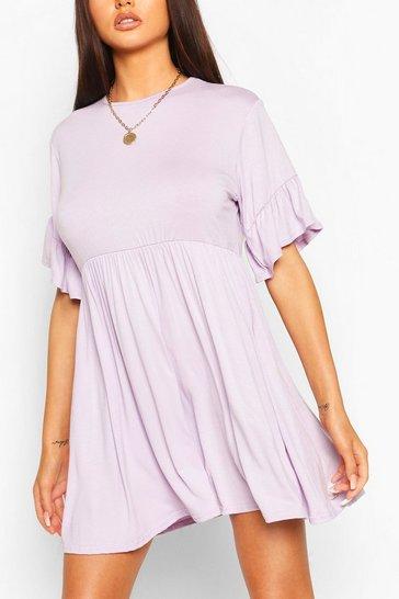 Lilac Frill Sleeve Smock Dress