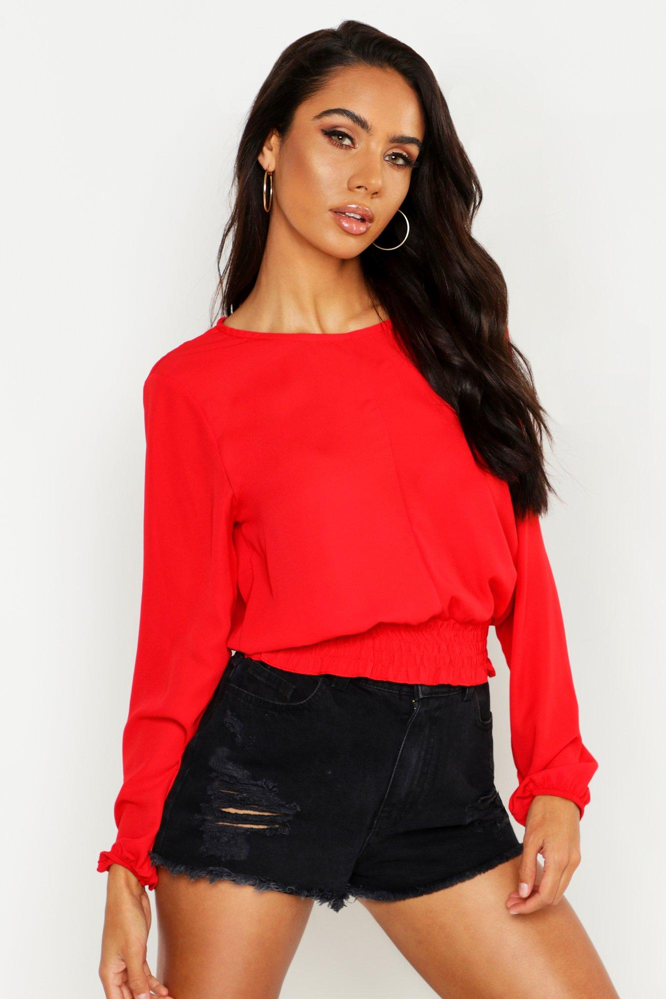 Womens Bluse mit gesmokter Taille - rot - 38, Rot - Boohoo.com