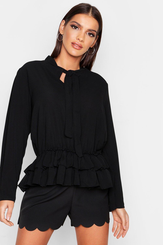 Womens Hängerchenhemd mit Schleifchen - schwarz - S, Schwarz - Boohoo.com