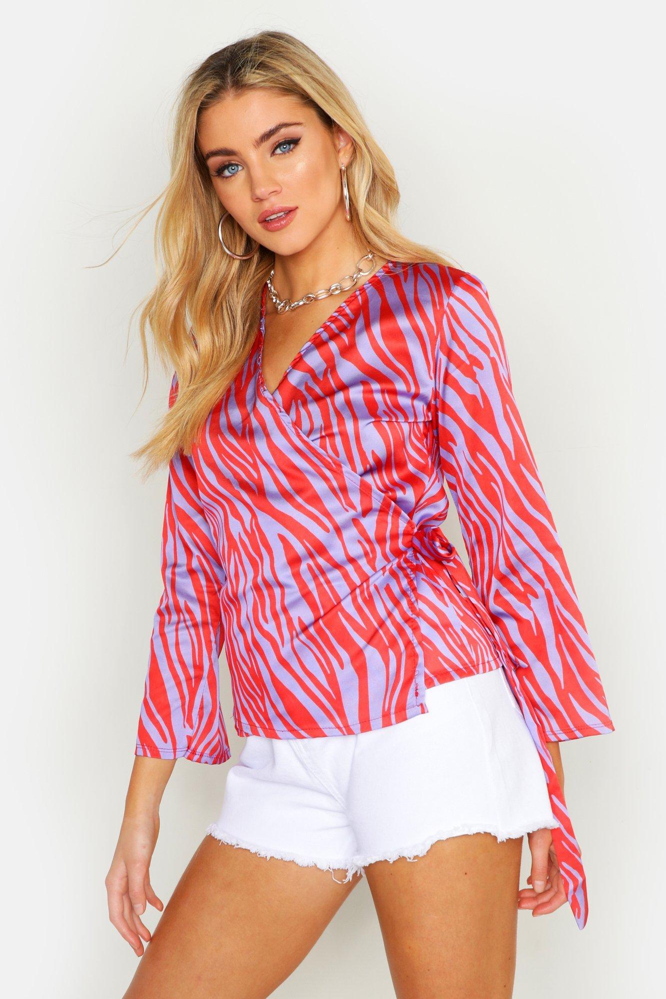 Womens Bluse mit Wickeldesign und Zebra-Print - Flieder - 34, Flieder - Boohoo.com