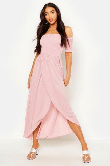 Blush Off The Shoulder Shirred Maxi Dress