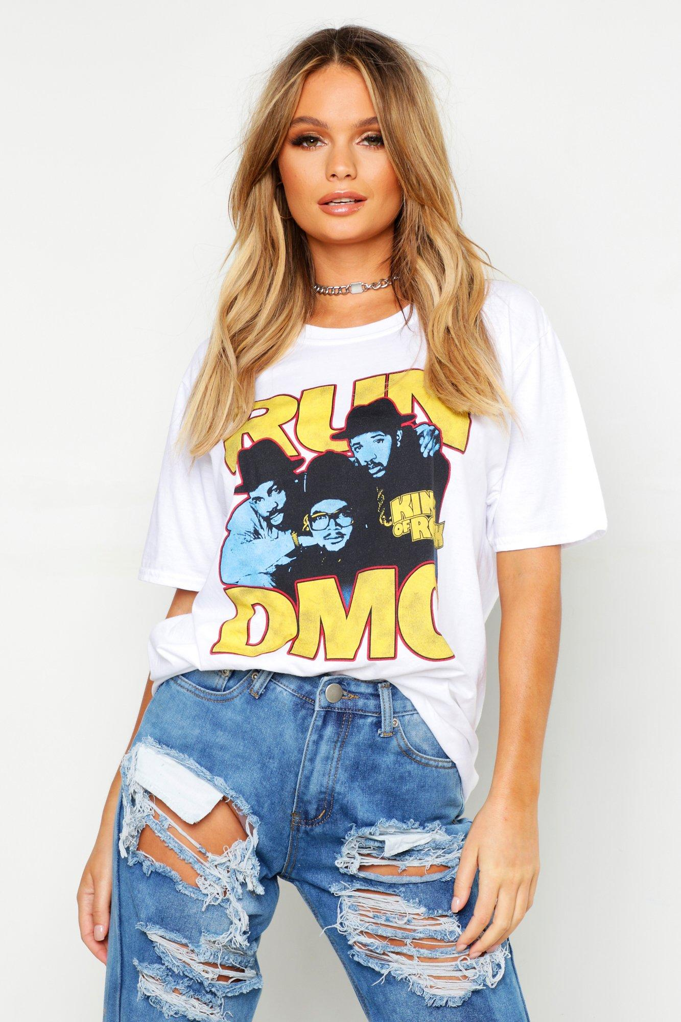 "Womens T-Shirt ""Run DMC"" - Weiß - M, Weiß - Boohoo.com"