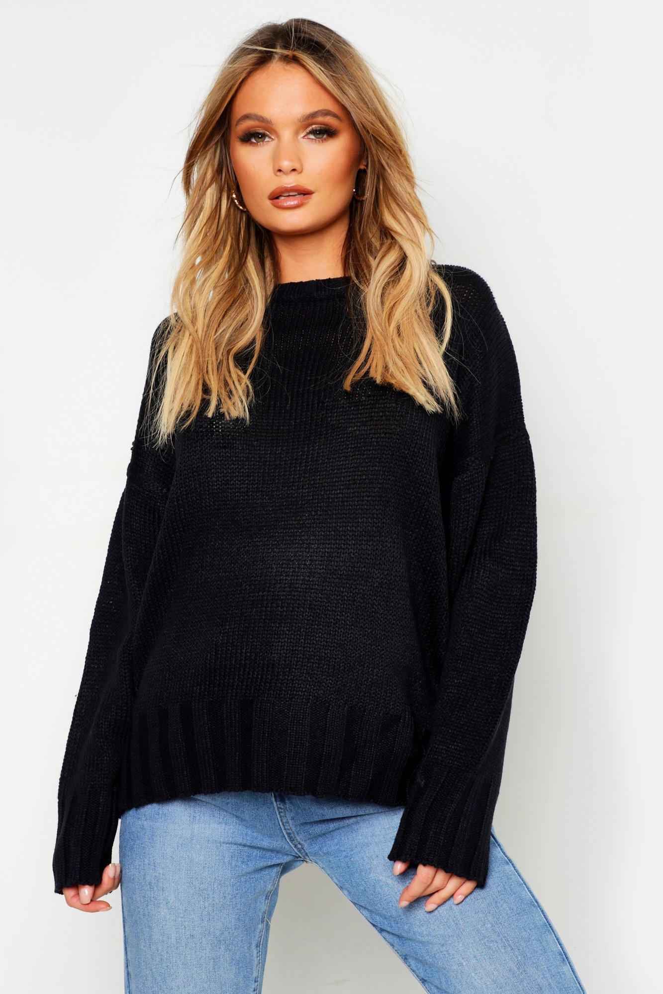 Womens Oversized-Pullover - schwarz - S, Schwarz - Boohoo.com