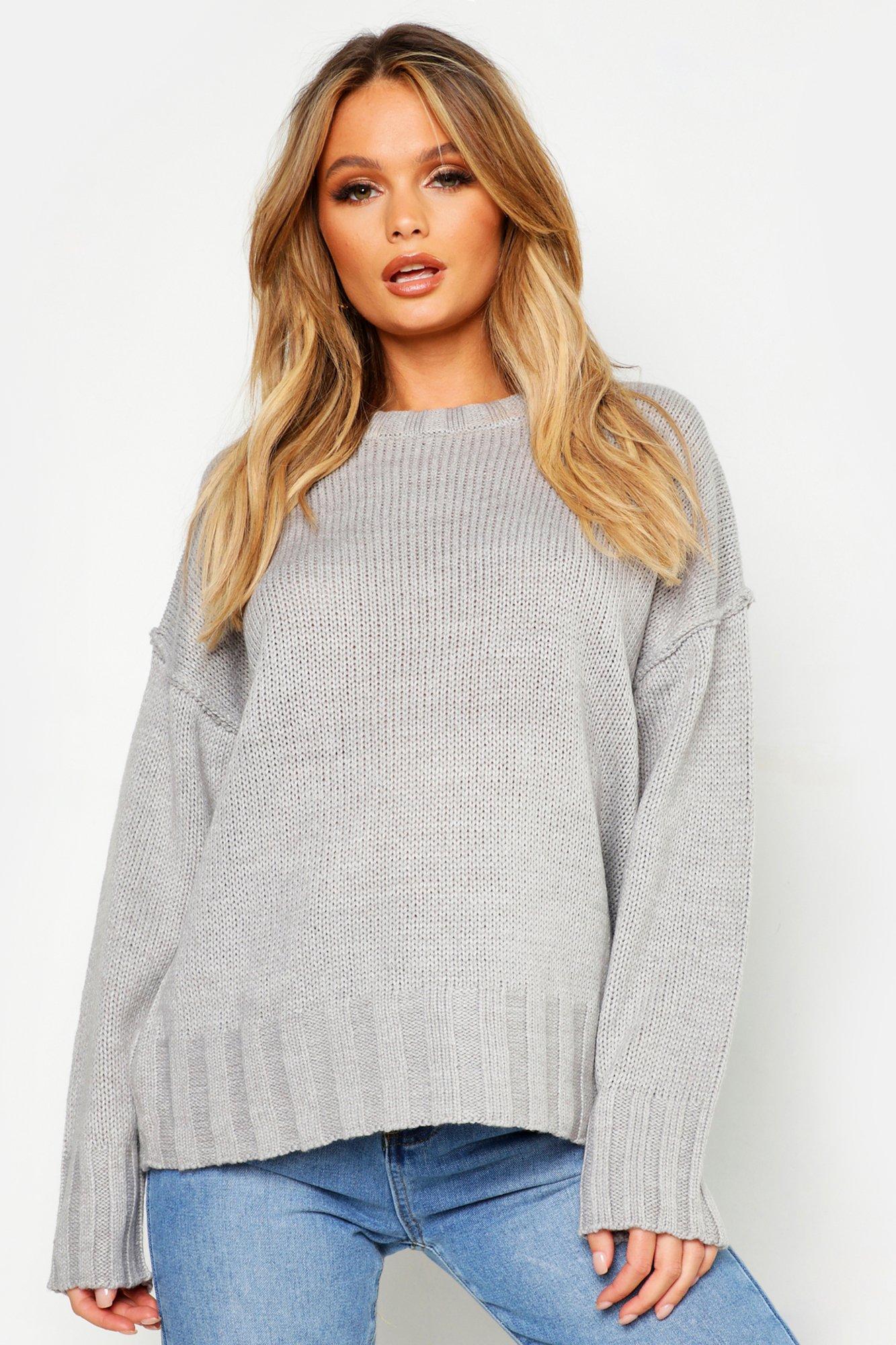 Womens Oversized-Pullover - grau - M, Grau - Boohoo.com