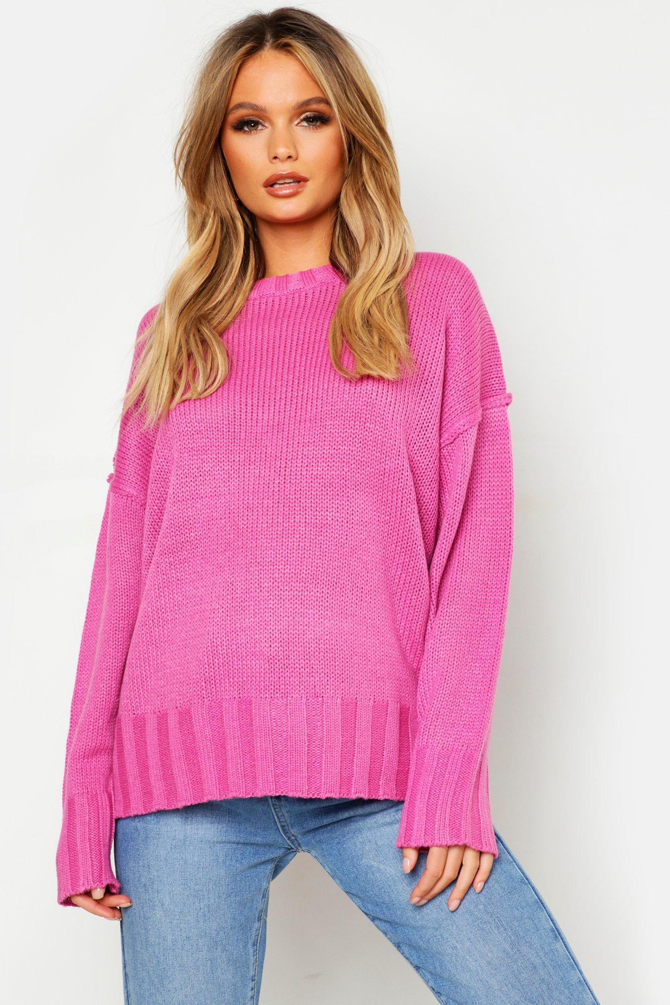 Womens Oversized-Pullover - Rosenrosa - L, Rosenrosa - Boohoo.com
