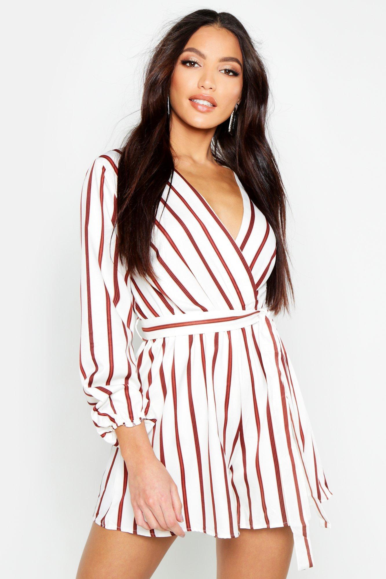 Stripe Wrap Front Tie Waist Playsuit