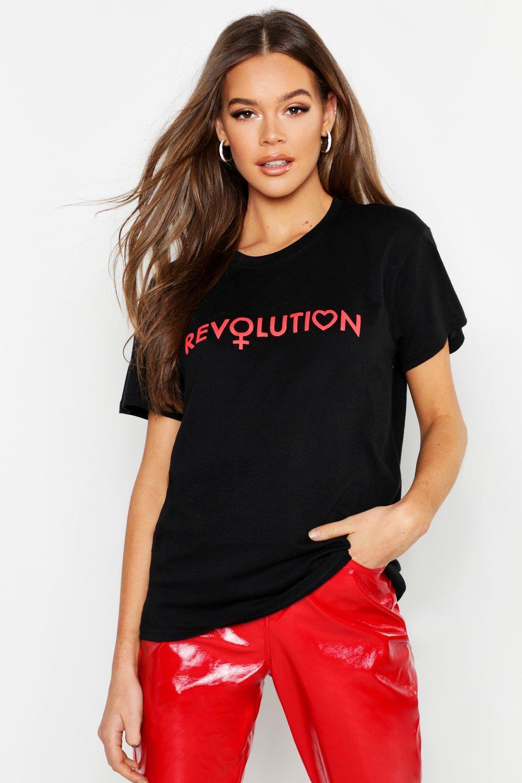 Womens T-Shirt mit Slogan Revolution - schwarz - S, Schwarz - Boohoo.com