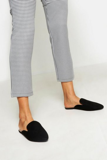 Black Wide Fit Pointed Flat Mules