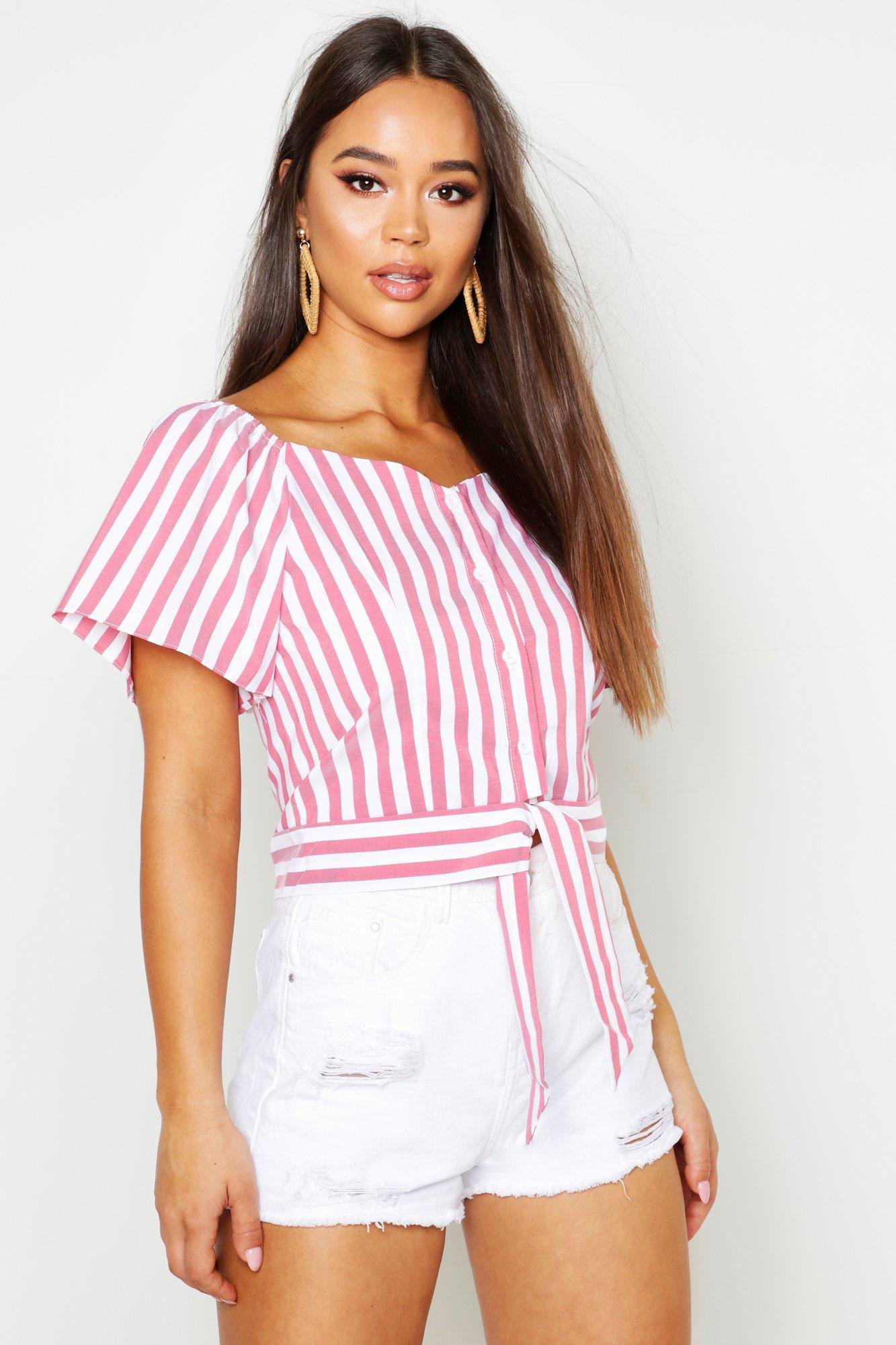 Womens Gewebte Gipsy-Bluse mit Streifen - rosa - L, Rosa - Boohoo.com