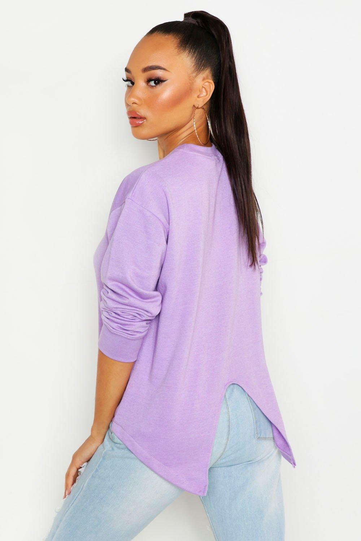 Womens Sweatshirt mit Rückenschlitz - Flieder - 32, Flieder - Boohoo.com