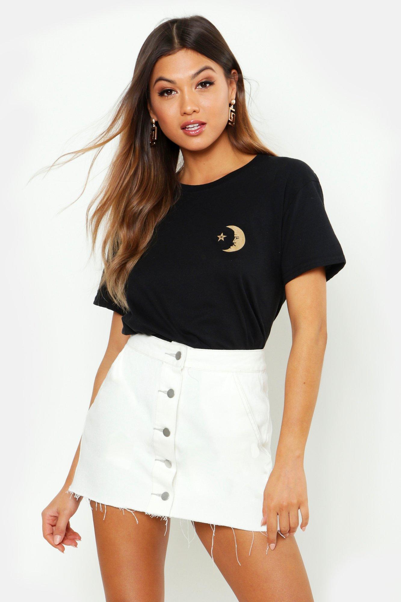 Womens T-Shirt mit aufgedrucktem Sonne-Mond-Motiv und Tasche - schwarz - L, Schwarz - Boohoo.com