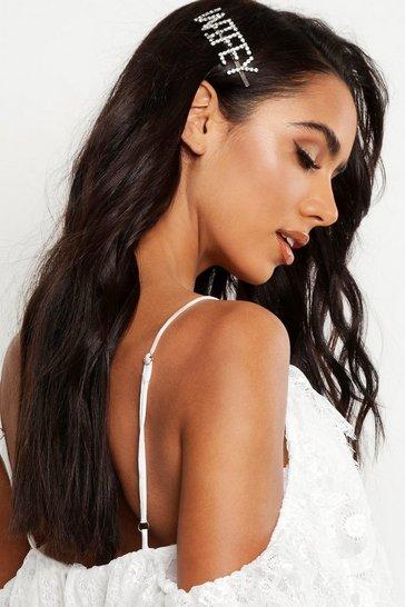 Silver WIFEY Diamante Hair Slide