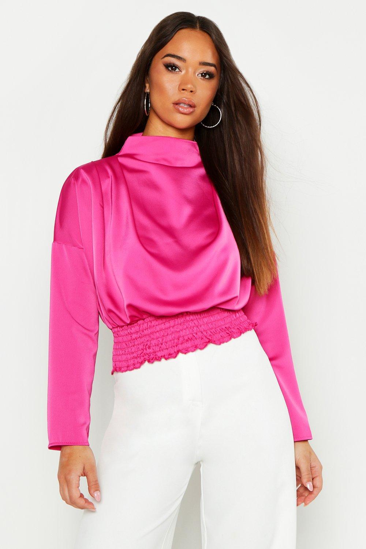 Womens Hochgeschlossene, ausgestellte Bluse aus Satin - rosa - Eine Größe, Rosa - Boohoo.com