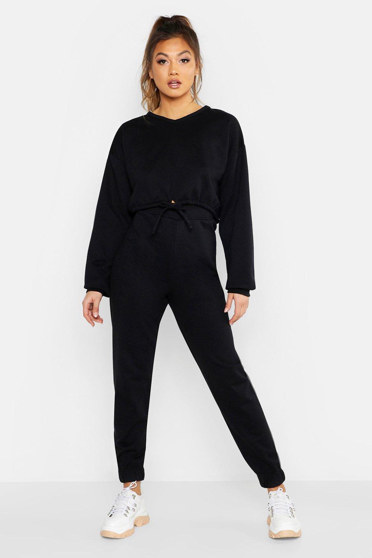 Womens Sweatshirt mit Tunnelzug und V-Ausschnitt und Jogginghose mit Bündchen - schwarz - 34, Schwarz - Boohoo.com