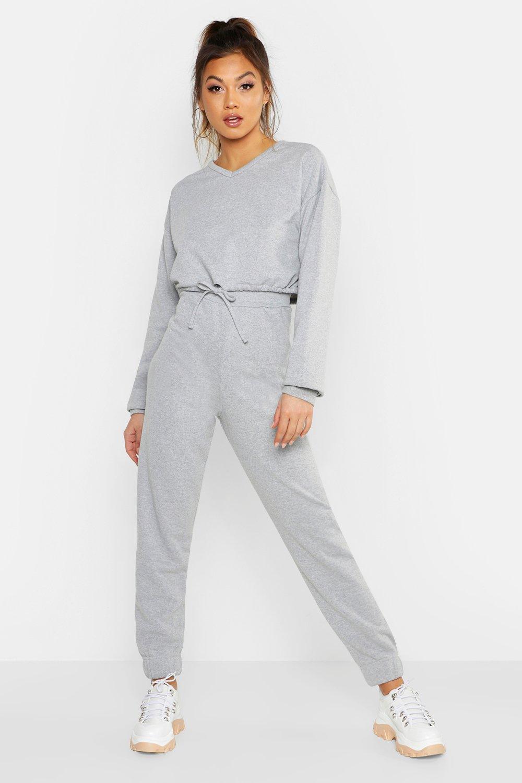 Womens Sweatshirt mit Tunnelzug und V-Ausschnitt und Jogginghose mit Bündchen - Grau meliert - 36, Grau Meliert - Boohoo.com