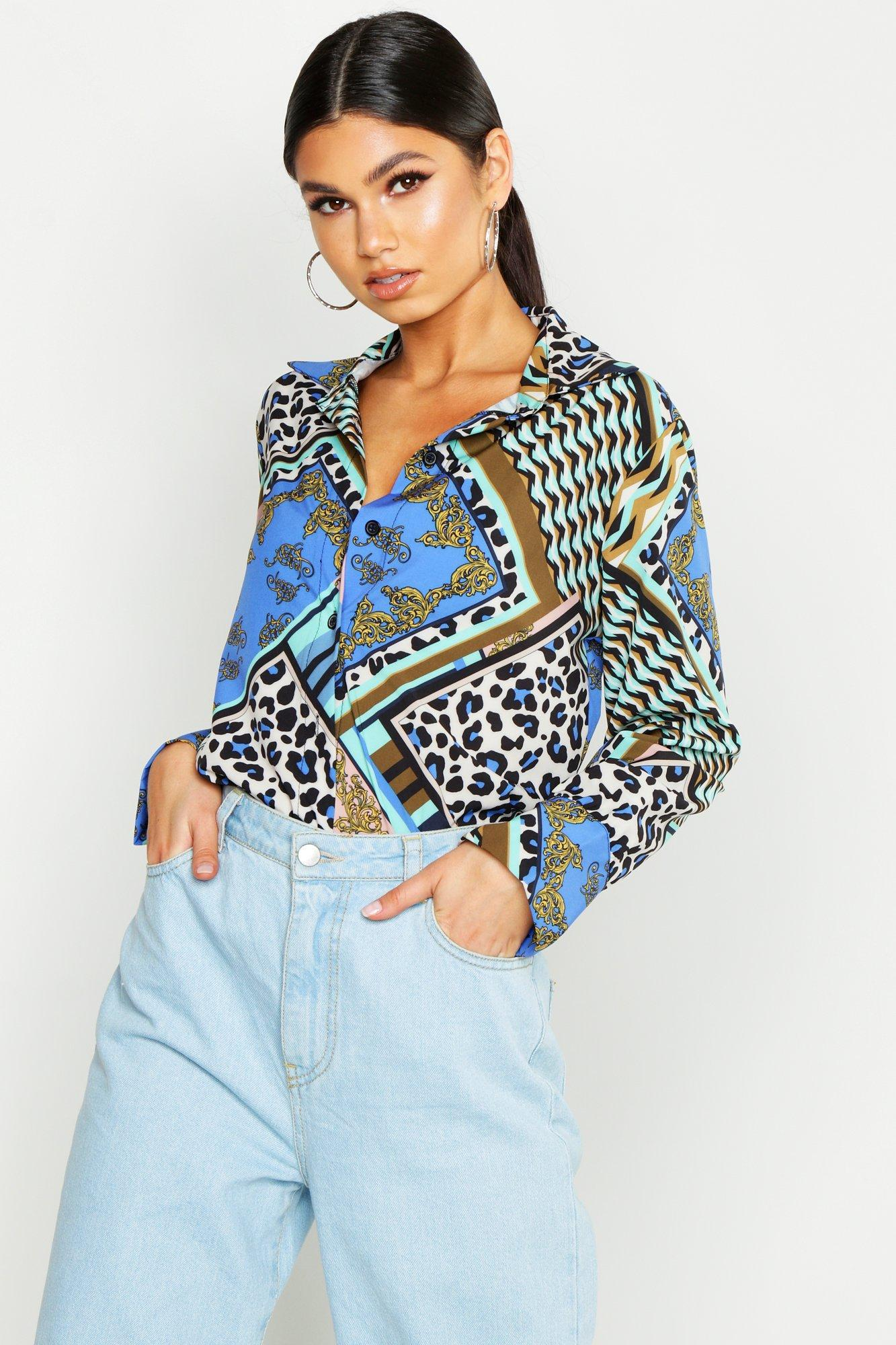 Womens Hemd aus Satin mit Schnörkel-Print - Blau - 38, Blau - Boohoo.com