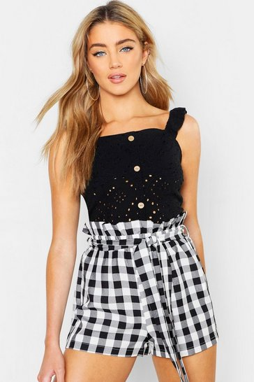 Black Broderie Anglaise Button Top