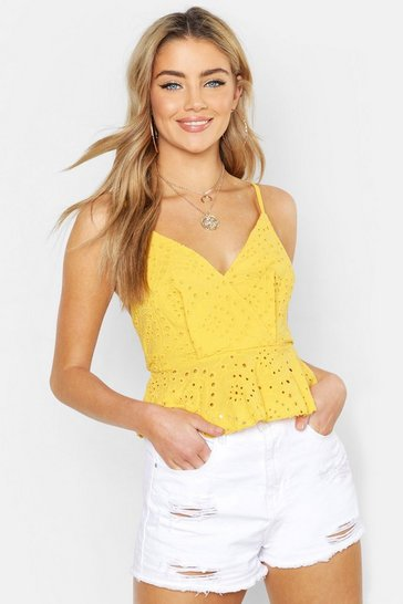 Yellow Broderie Anglaise Peplum Top