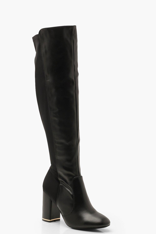 Купить Boots, Сапоги до колена на квадратном каблуке, boohoo