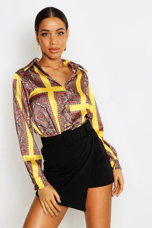 Womens Hemd mit Seidenschal-Print - gelb - 34, Gelb - Boohoo.com