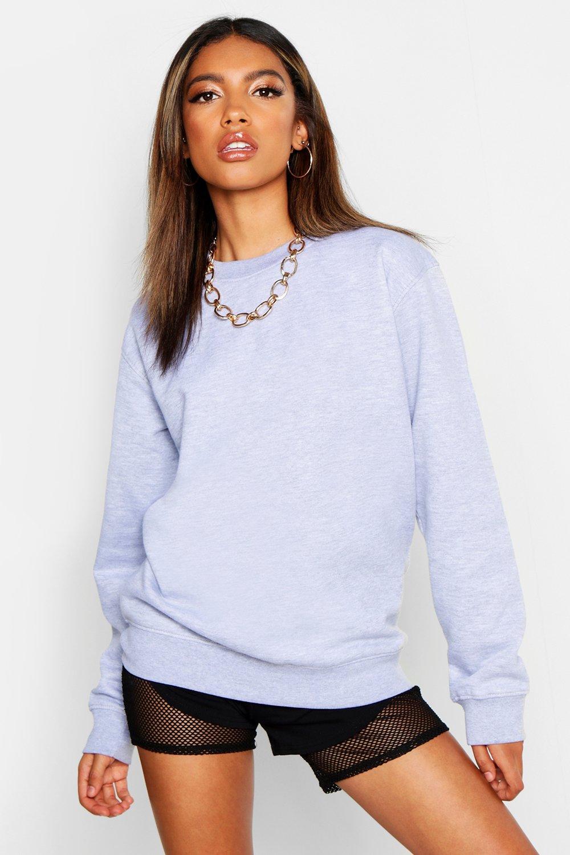 Womens Oversized Sweatshirt mit Rundhalsausschnitt - Grau meliert - 40, Grau Meliert - Boohoo.com