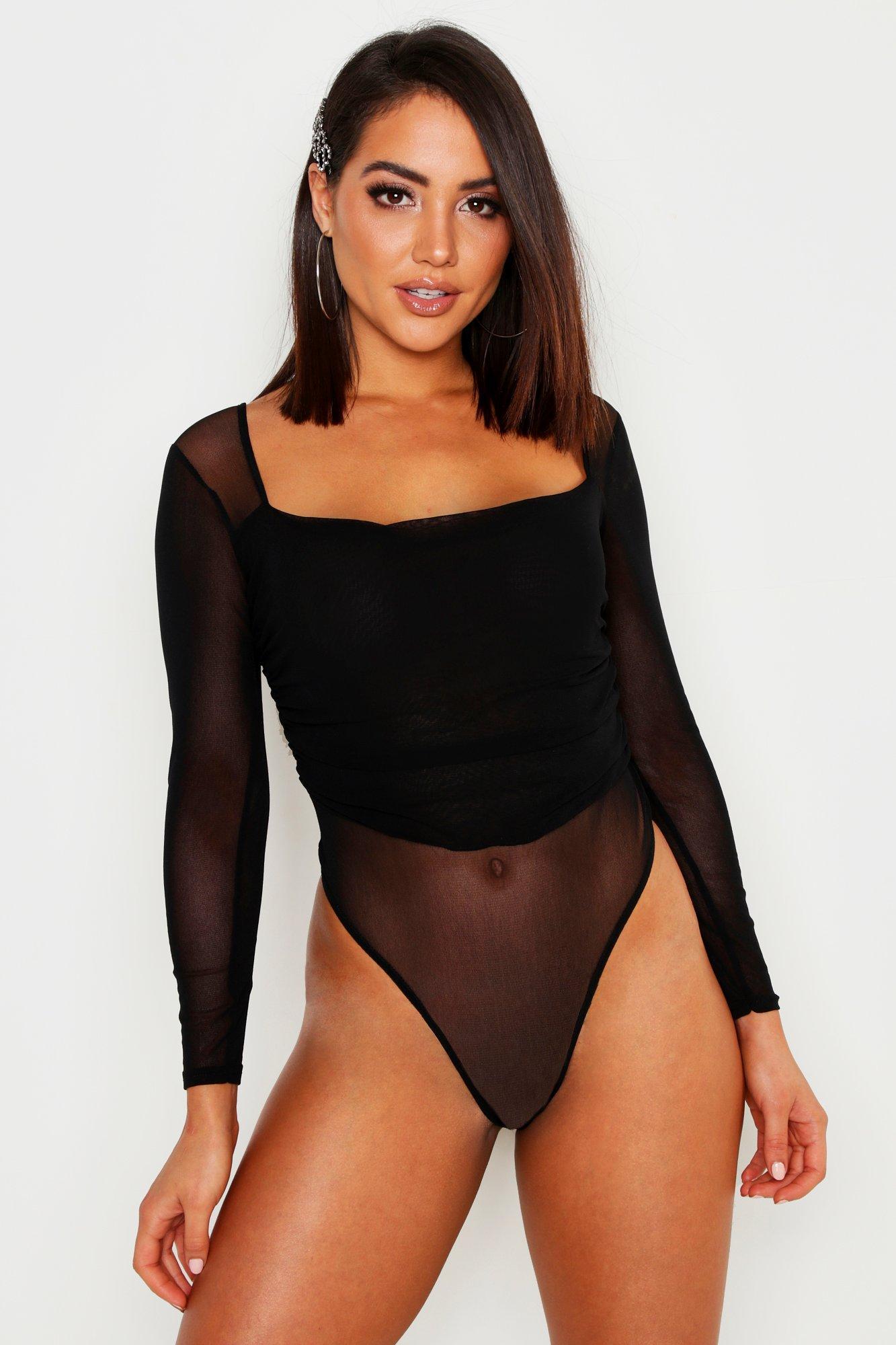Womens Body aus gerafftem Netzstoff mit Karree-Ausschnitt - schwarz - 32, Schwarz - Boohoo.com