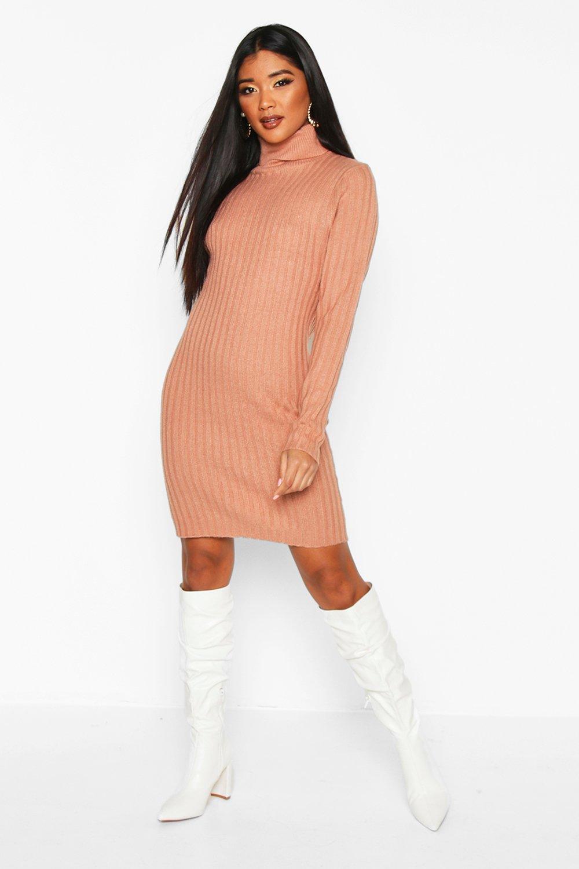£5 Dresses Longline Rib Knit Roll Neck Tunic