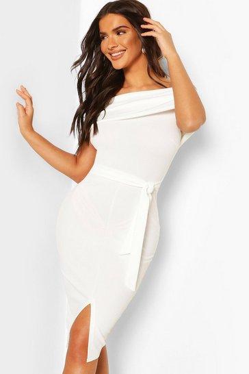 White Off The Shoulder Fold Over Split Midi Bodycon Dress