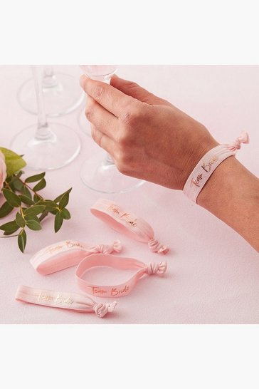 Pink Ginger Ray Team Bride Wristbands 5 Pack