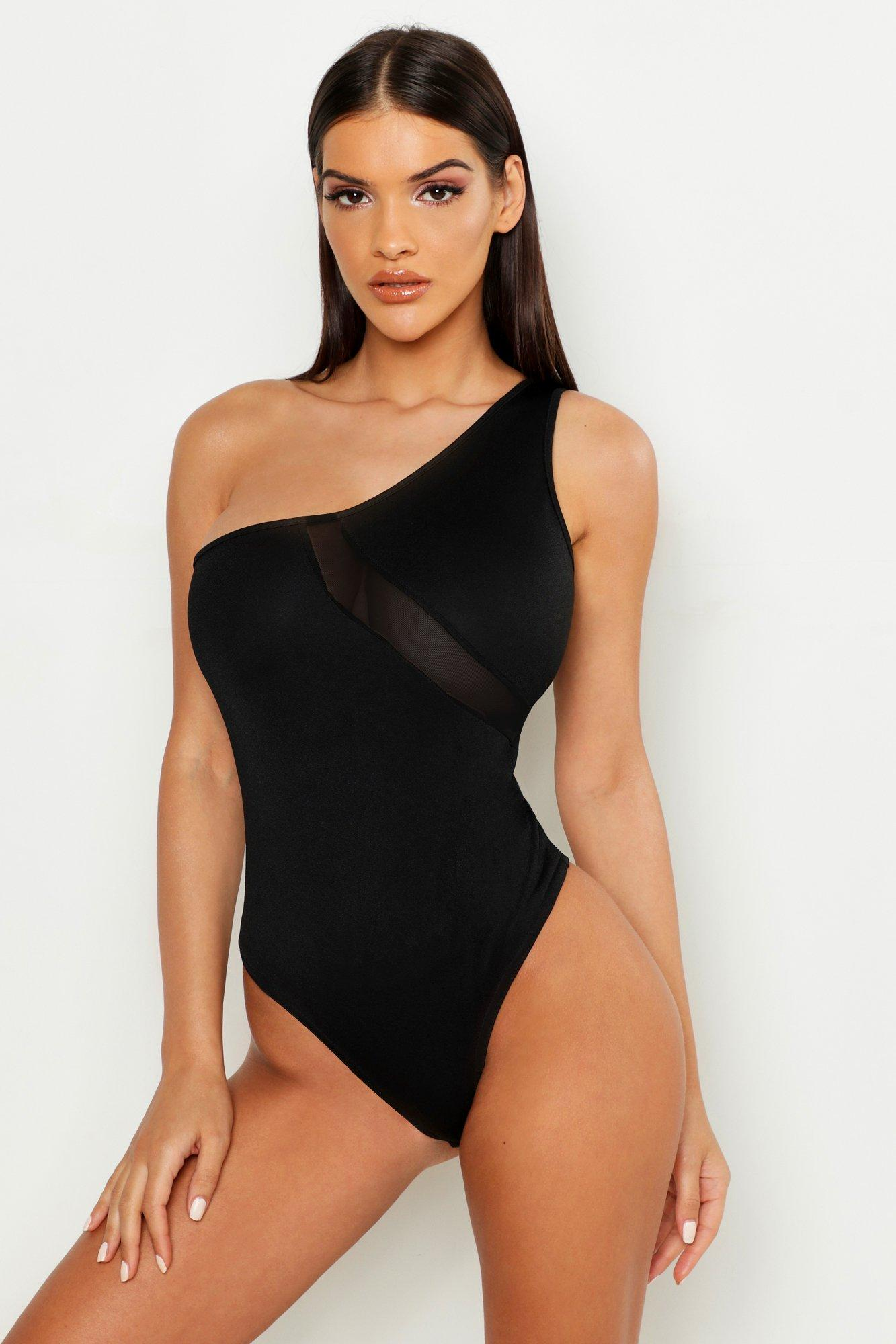 Womens One-Shoulder-Body mit Netzstoffeinsatz - schwarz - 32, Schwarz - Boohoo.com