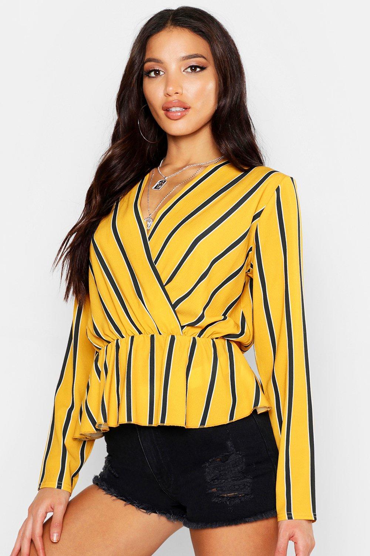 Womens Gestreifte Bluse aus Webstoff mit tiefem Ausschnitt - senfgelb - 32, Senfgelb - Boohoo.com