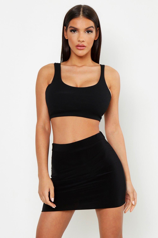 Womens Zweilagiger Minirock aus glänzendem Jersey in Neonfarben - schwarz - 38, Schwarz - Boohoo.com