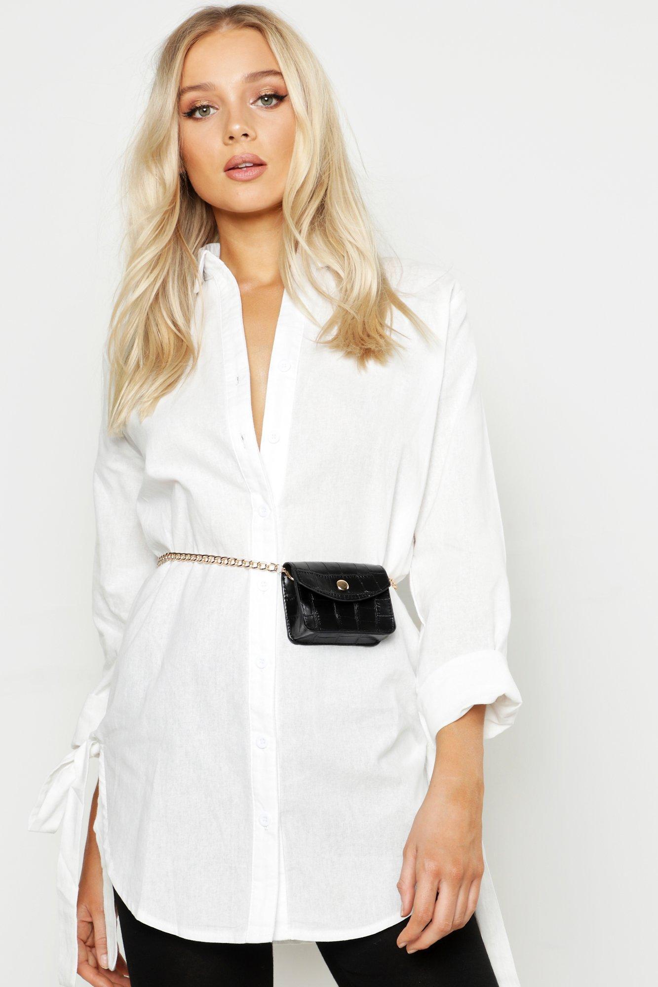 boohoo Womens Mini Croc Chain Belt Bag - Black - One Size, Black