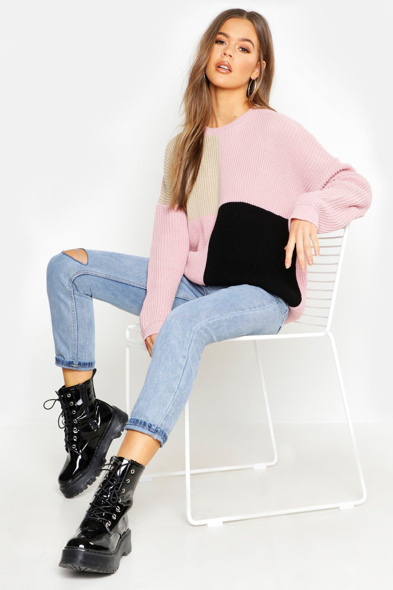 Womens Oversized Strickpullover im Colorblock-Design - hautfarben - L, Hautfarben - Boohoo.com
