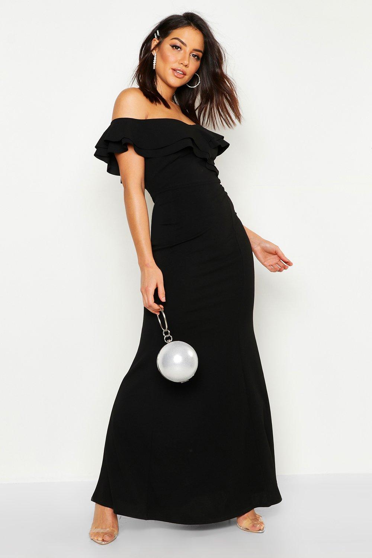 Купить Dresses, Bardot Double Ruffle Sweetheart Maxi Dress, boohoo