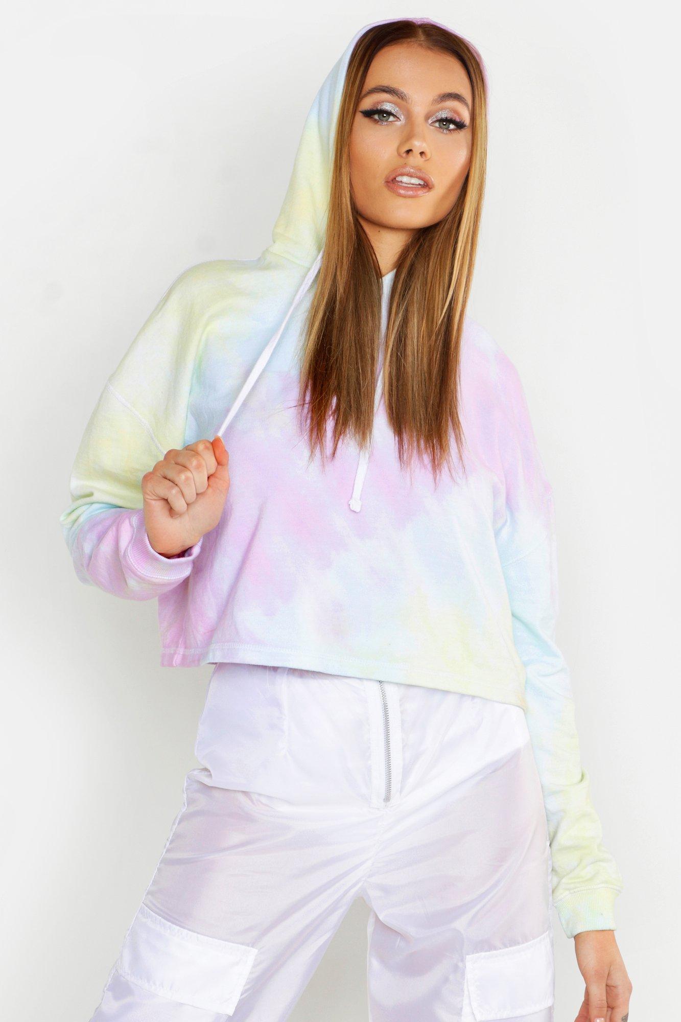 Womens Pastellfarbener Hoodie in Batik-Optik - rosa - 34, Rosa - Boohoo.com