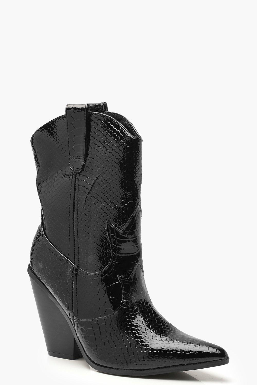 Купить Snake Calf High Western Boots, boohoo